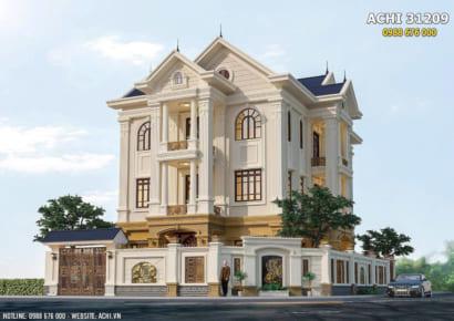 Mẫu nhà 3 tầng tân cổ điển đẹp sang trọng - ACHI 31209