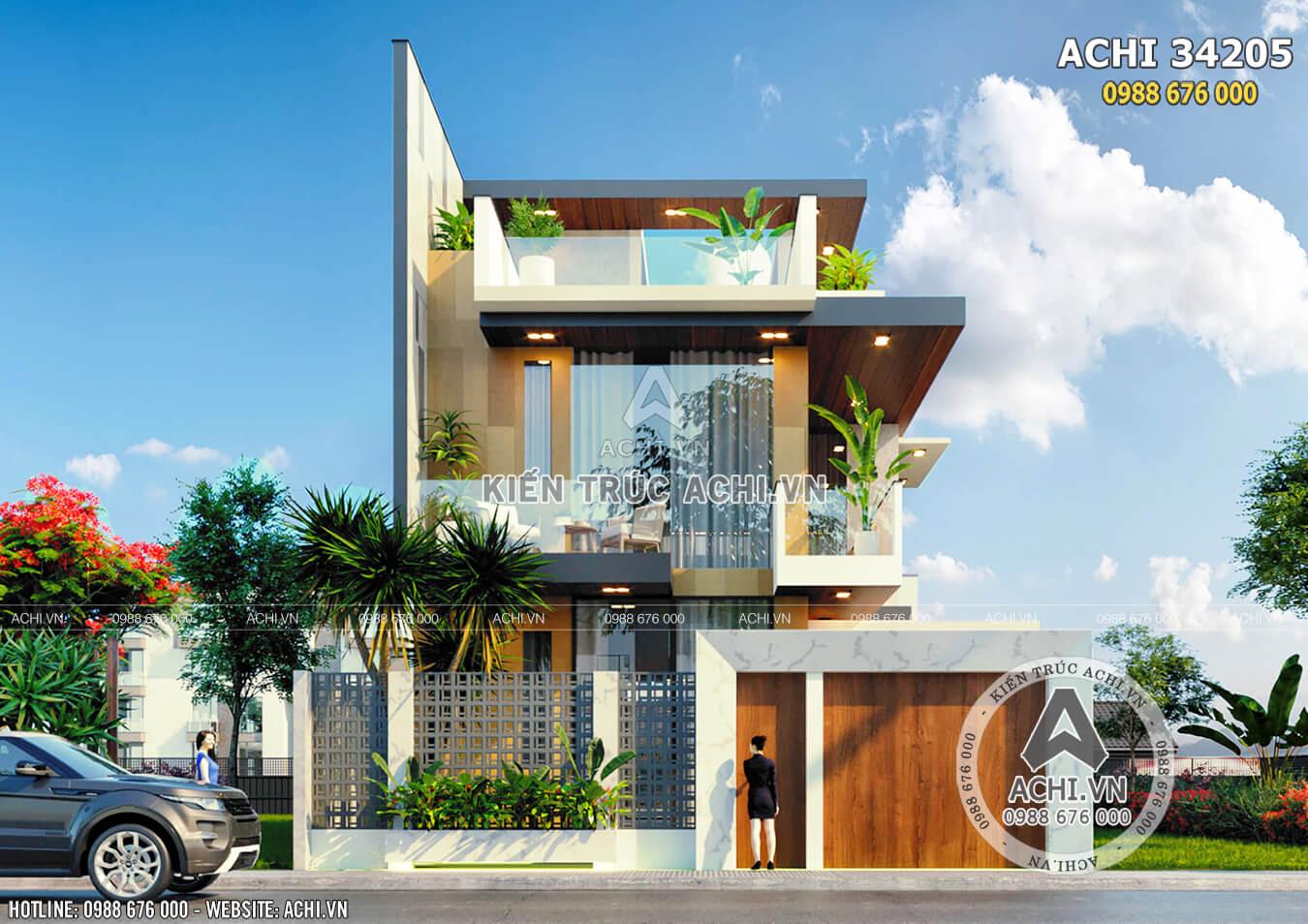 Mặt tiền mẫu nhà 3 tầng hiện đại đẹp tại Ninh Thuận