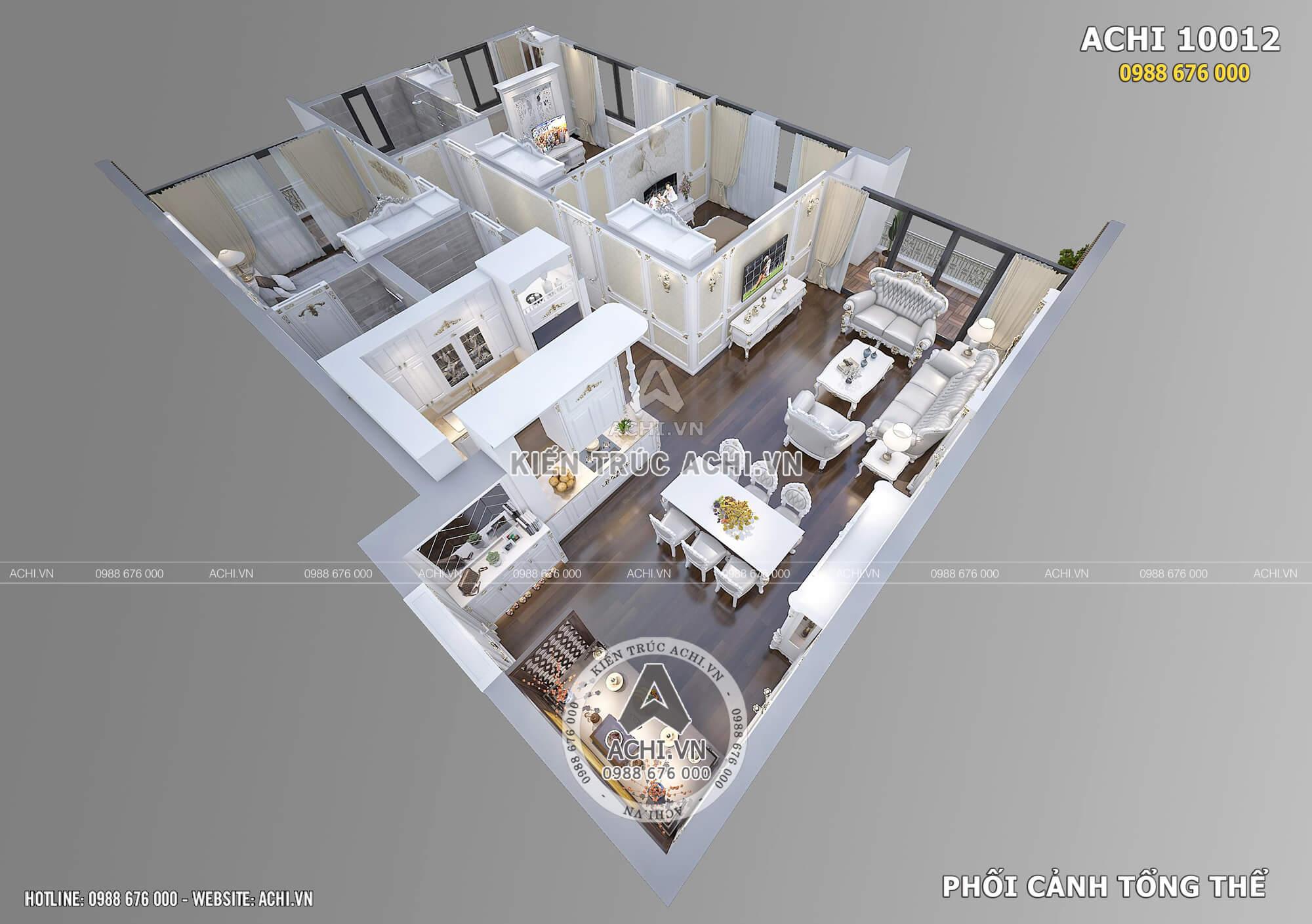 Phối cảnh 3D tổng thể tầng 1 thiết kế nội thất tân cổ điển biệt thự ACHI 10012