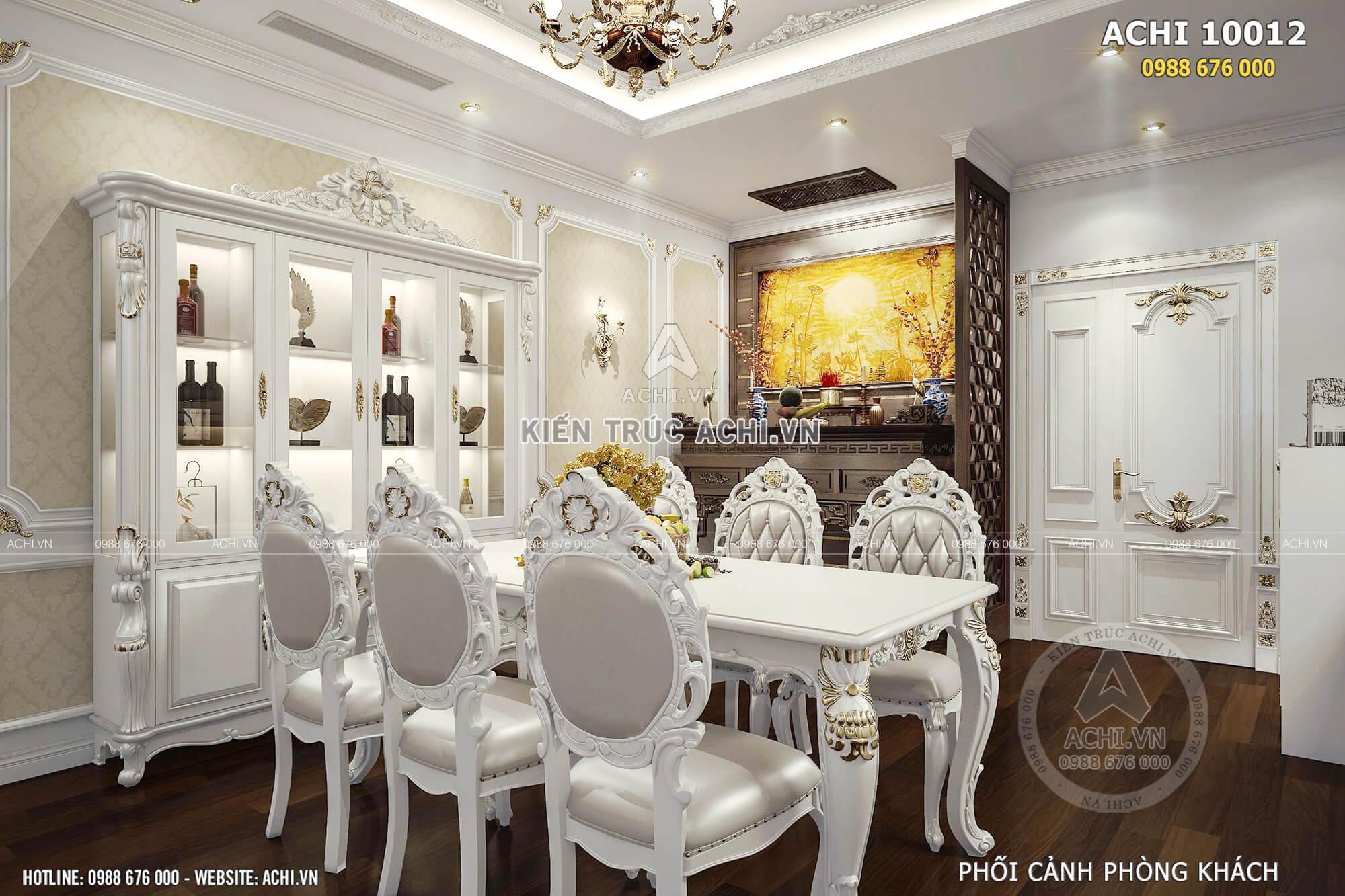 Phối cảnh 3D phòng khách với không gian kết hợp bàn ăn tân cổ điển sang trọng