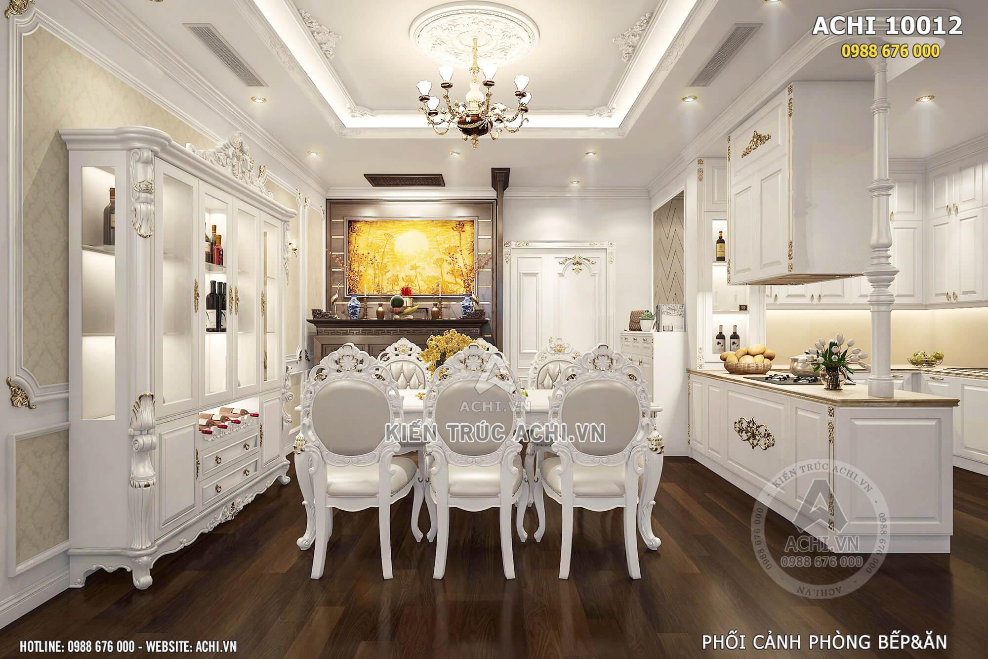 Phối cảnh phòng bếp và phòng ăn căn hộ cao cấp