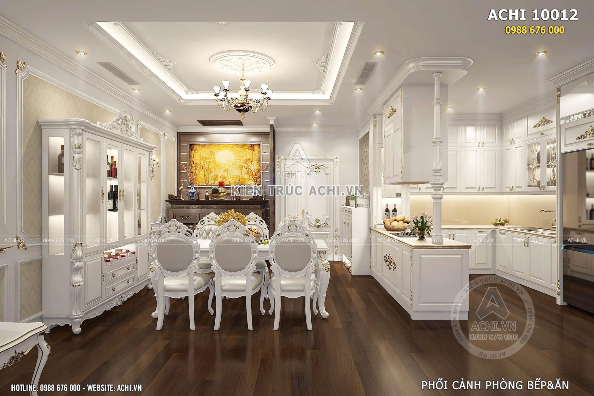 Phòng khách và bếp ăn với tone màu trắng trang nhã, tinh tế và thoáng rộng