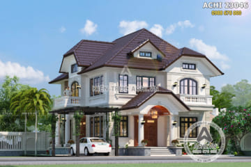 Thiết kế biệt thự 2 tầng mái thái đẹp tại Hòa Bình – ACHI 23046