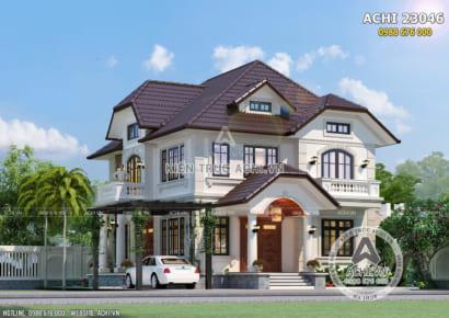 Không gian mặt tiền mẫu thiết kế biệt thự 2 tầng mái Thái đẹp tại Hòa Bình - Mã số: ACHI 23046