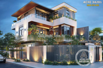 Thiết kế biệt thự 3 tầng đẹp hiện đại sang trọng – ACHI 34201