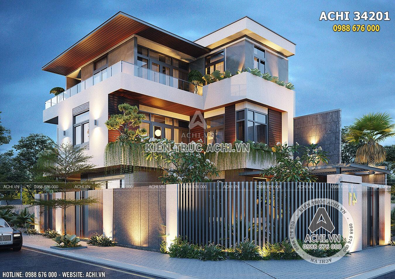 Thiết kế biệt thự đẹp hiện đại sang trọng - ACHI 34201