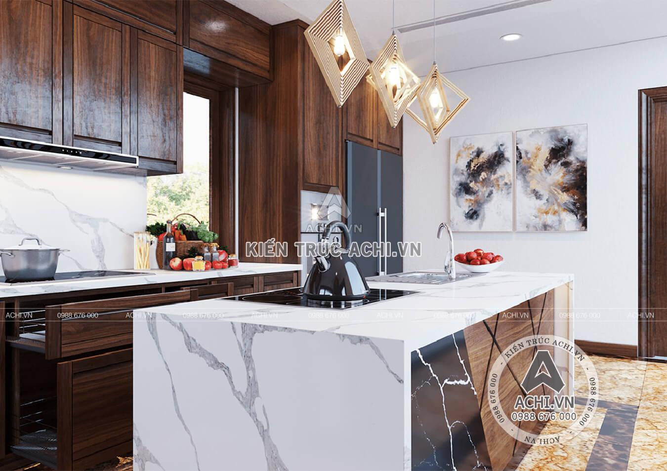 Phòng bếp với kiến trúc hiện đại sang trọng