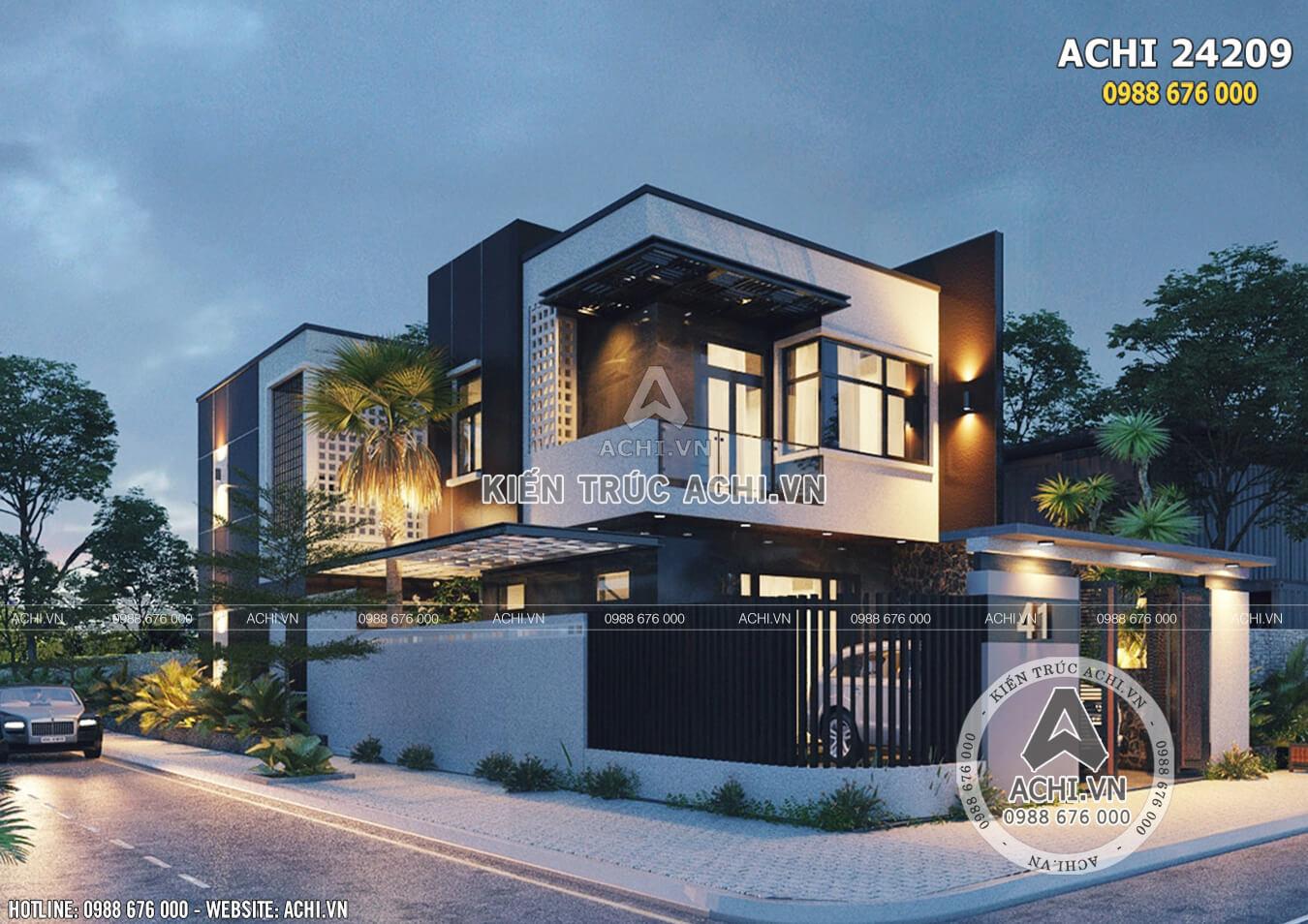 Ngây ngất với thiết kế nhà 2 tầng hiện đại mặt tiền 8m - Mã số: ACHI 24209