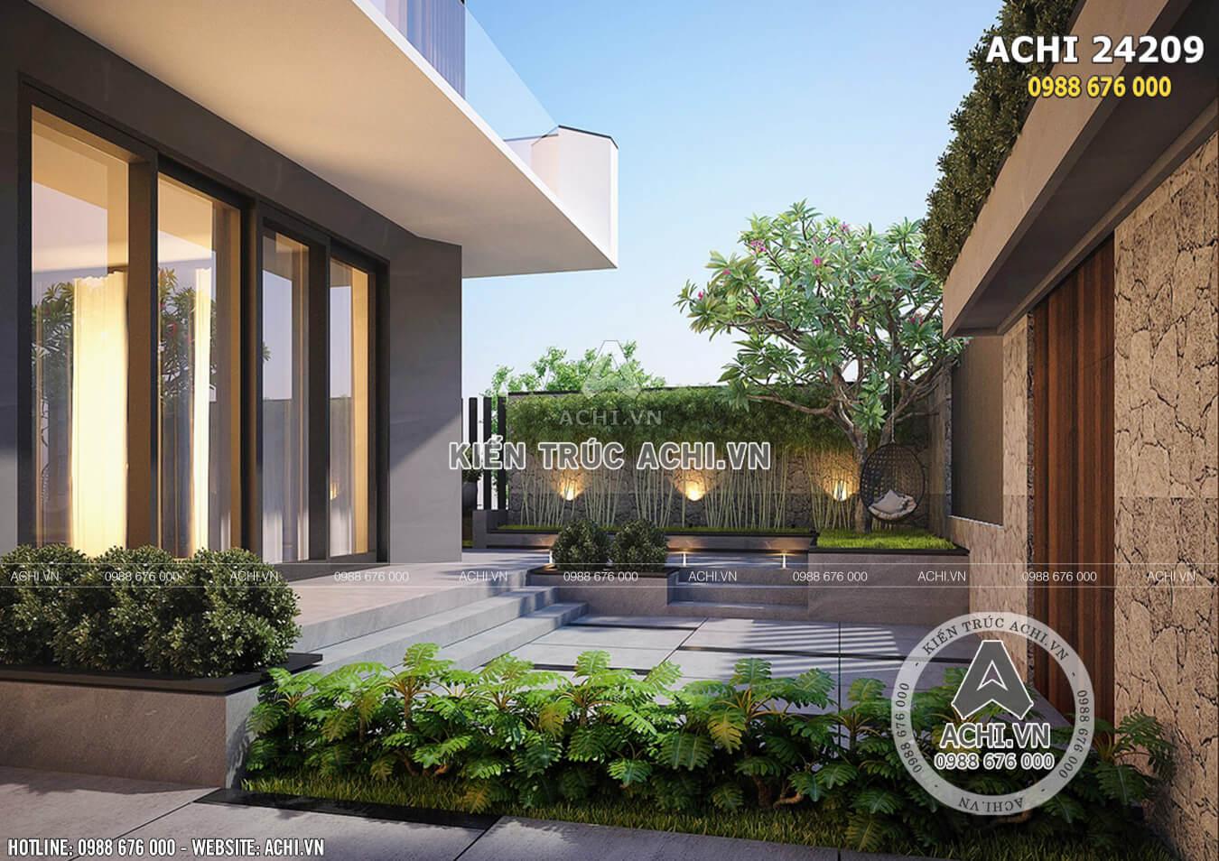 Không gian sân vườn mẫu nhà 2 tầng hiện đại đẹp