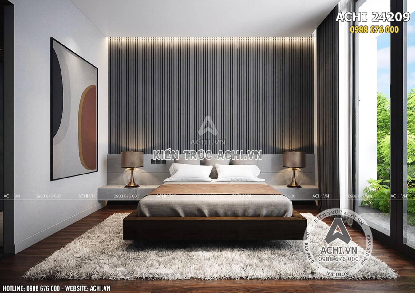 Phòng ngủ đơn giản nhưng tiện nghi và giao hòa cùng thiên nhiên