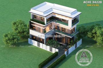 Mẫu thiết kế nhà chữ L 3 tầng hiện đại tại Hà Nội – ACHI 34220