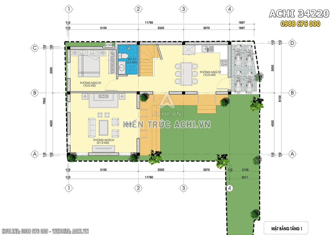 Mặt bằng tầng 1 mẫu thiết kế nhà hiện đại 3 tầng chữ L