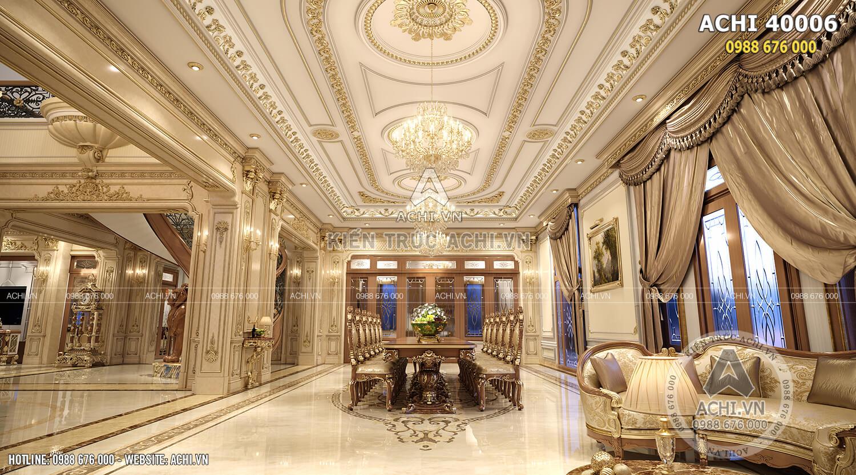 Nội thất khu vực bàn ăn của biệt thự tân cổ điển