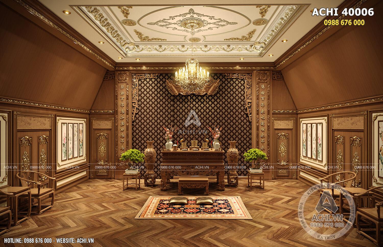 Thiết kế nội thất phòng thờ đẹp phong cách tân cổ