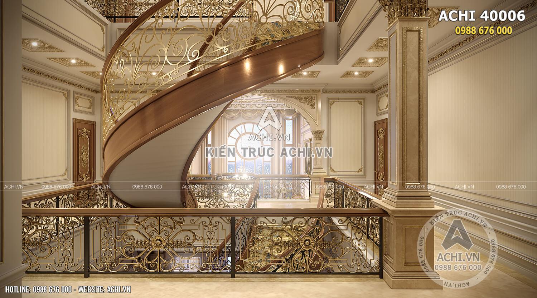 Khu vực cầu thang sang trọng và lộng lẫy cho biệt thự tân cổ