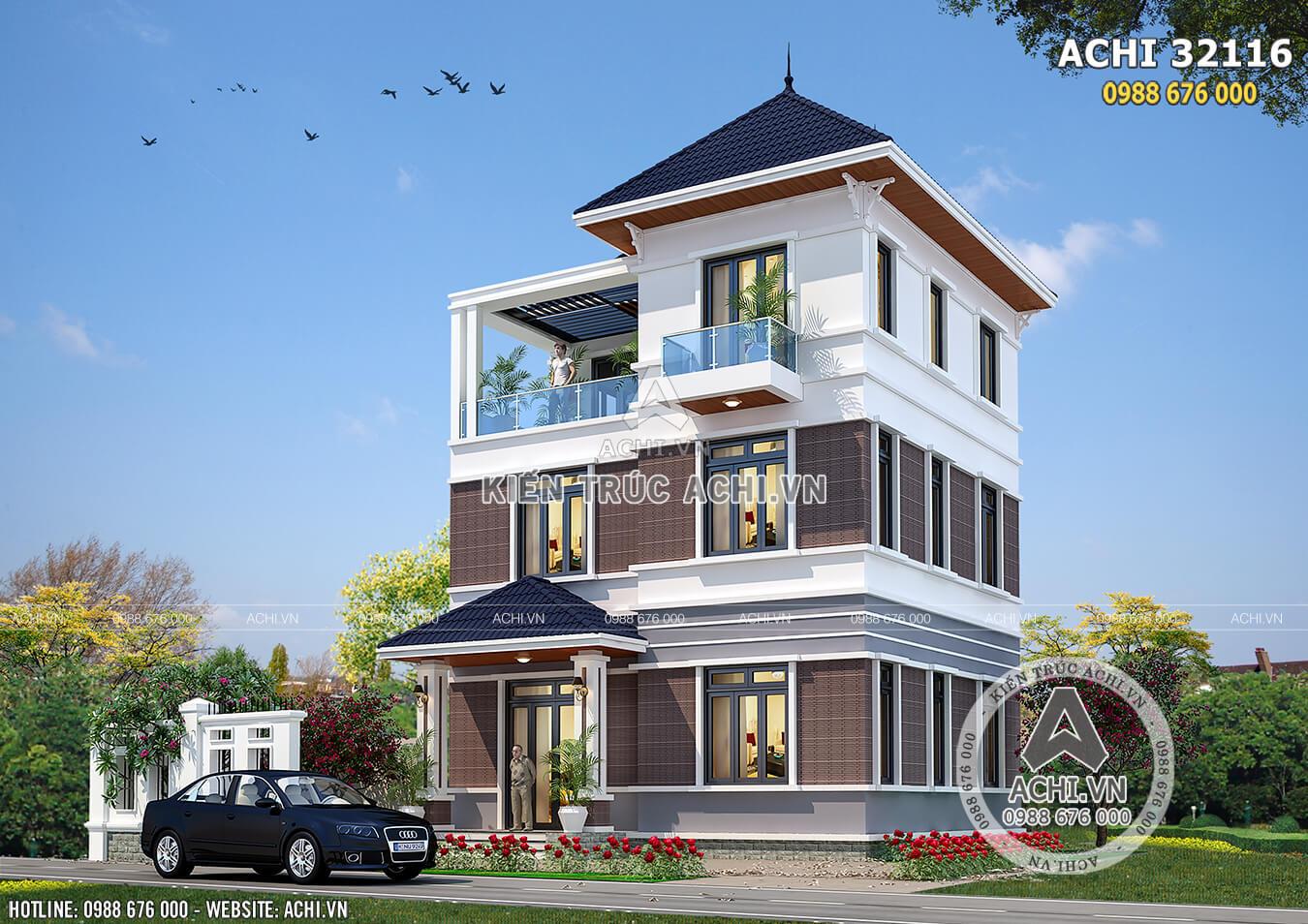 Biệt thự mái thái 3 tầng hiện đại đẹp tại Hà Nội - ACHI 32116