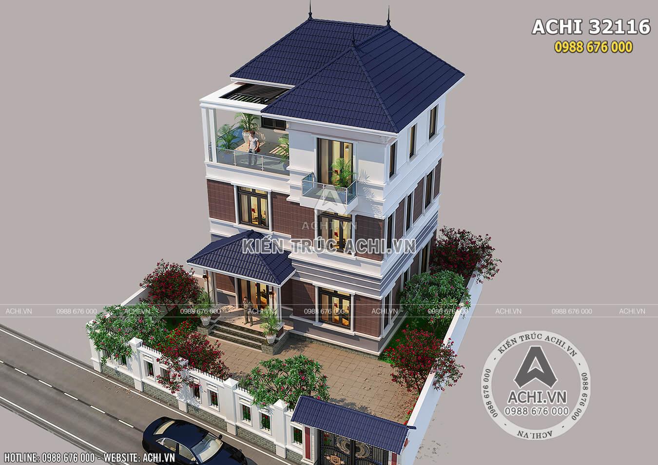 Biệt thự mái thái 3 tầng hiện đại nhìn từ trên cao
