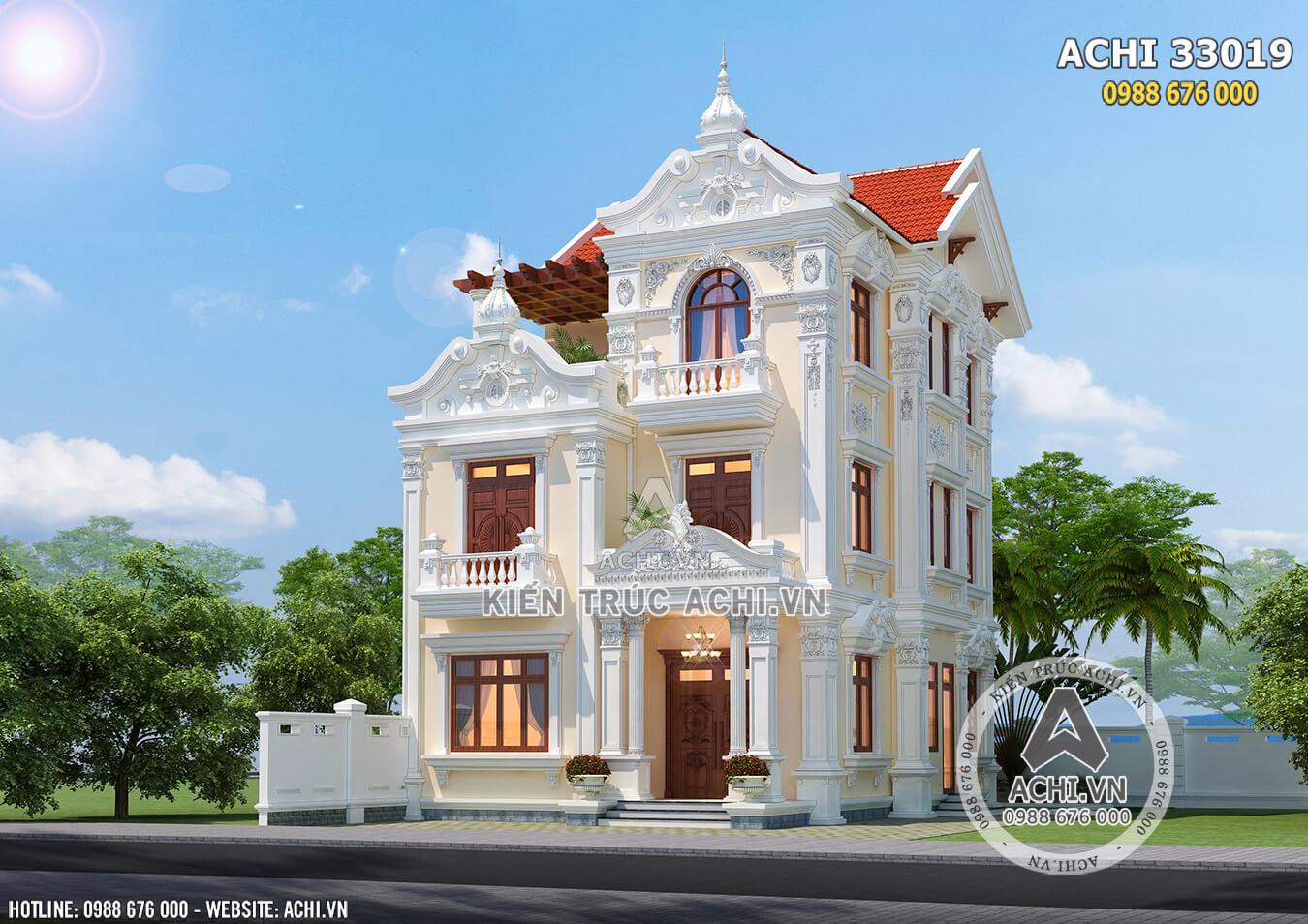 Mẫu biệt thự Pháp 3 tầng đẹp tại Hà Nội - ACHI 33019