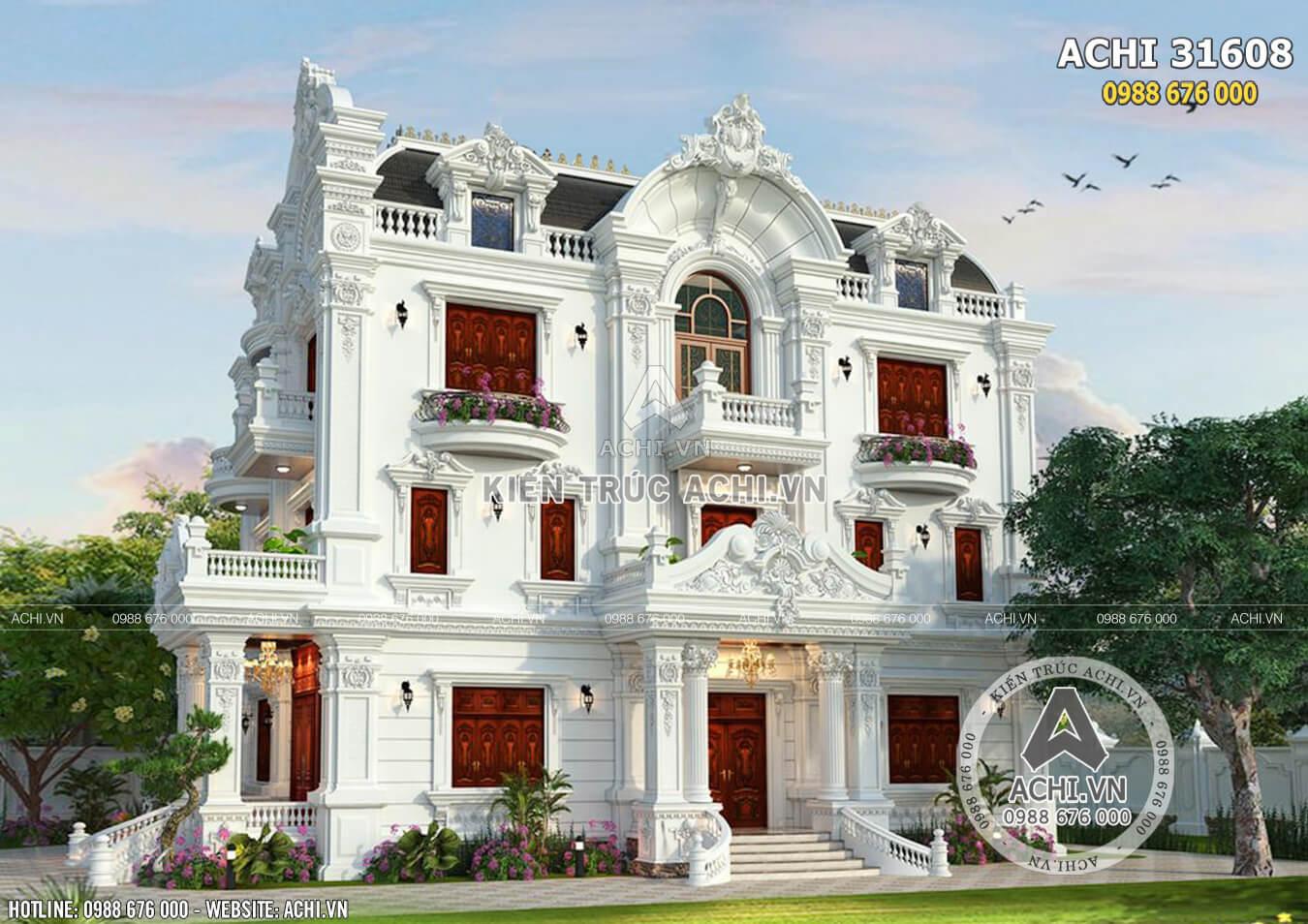 Phối cảnh 3D không gian ngoại thất của mẫu biệt thự tân cổ điển đồ sộ tại Bắc Ninh