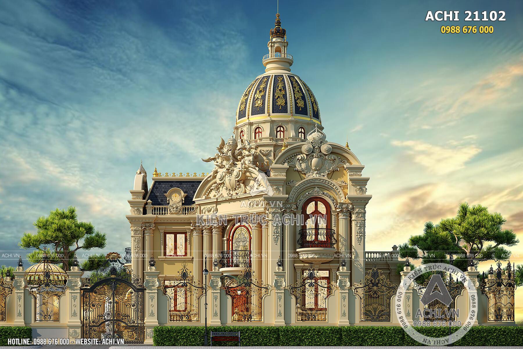 Mẫu biệt thự lâu đài 2 tầng tân cổ điển sang trọng