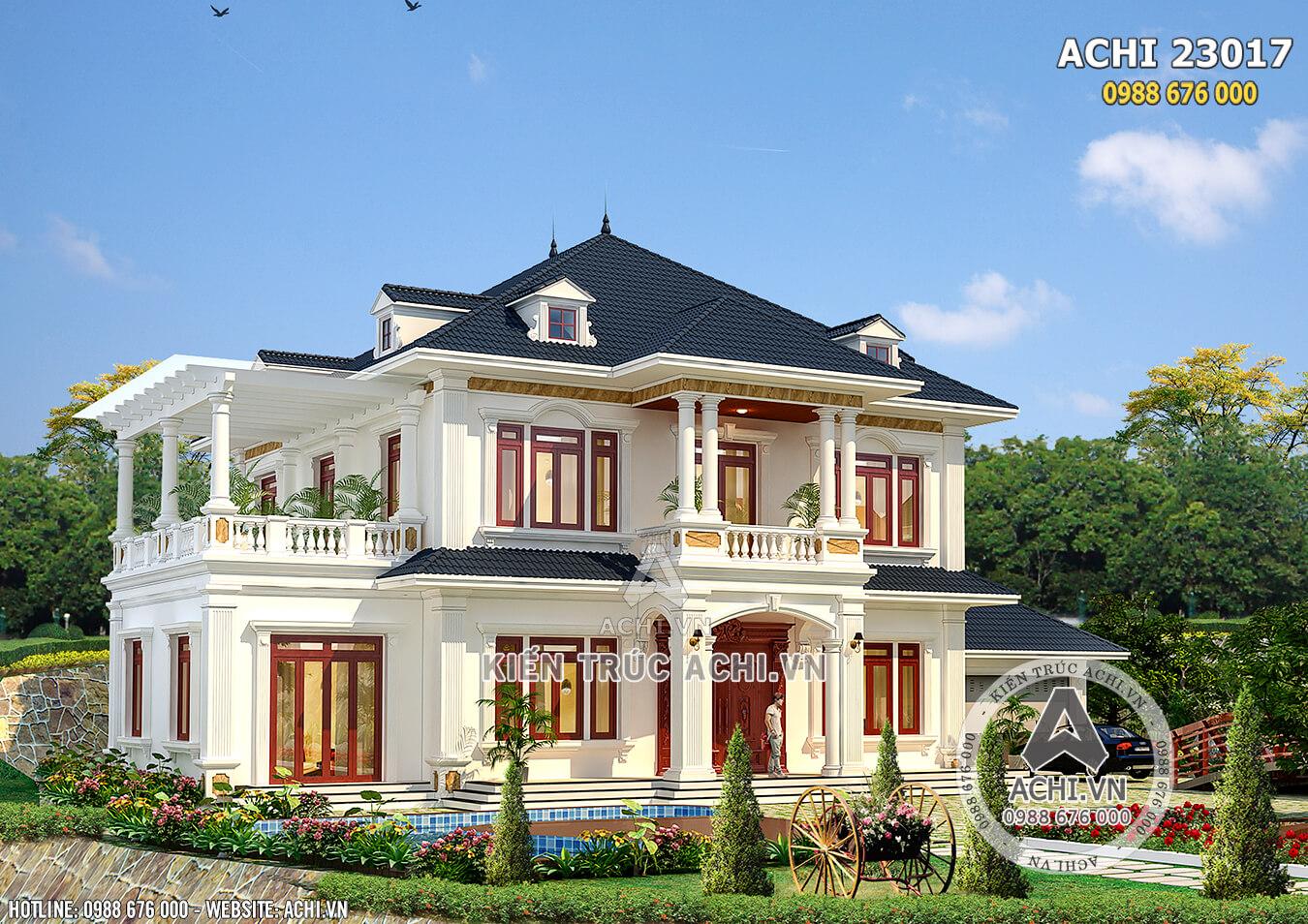 Mẫu biệt thự nhà vườn 2 tầng mái thái tân cổ điển đẹp tại Hà Giang - ACHI 23017