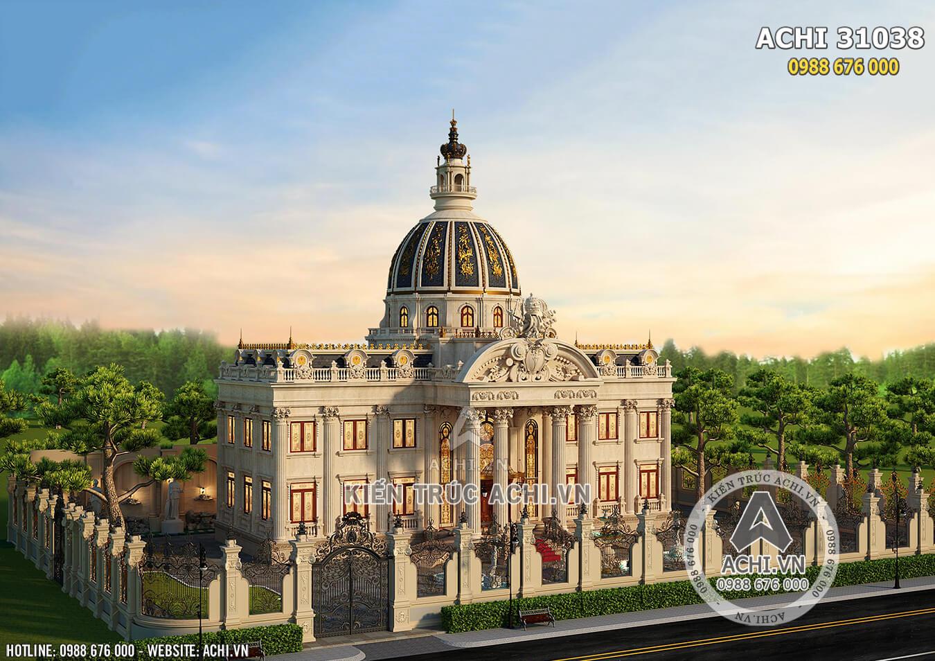 Mẫu dinh thự lâu đài tân cổ điển đẹp nhìn từ trên cao