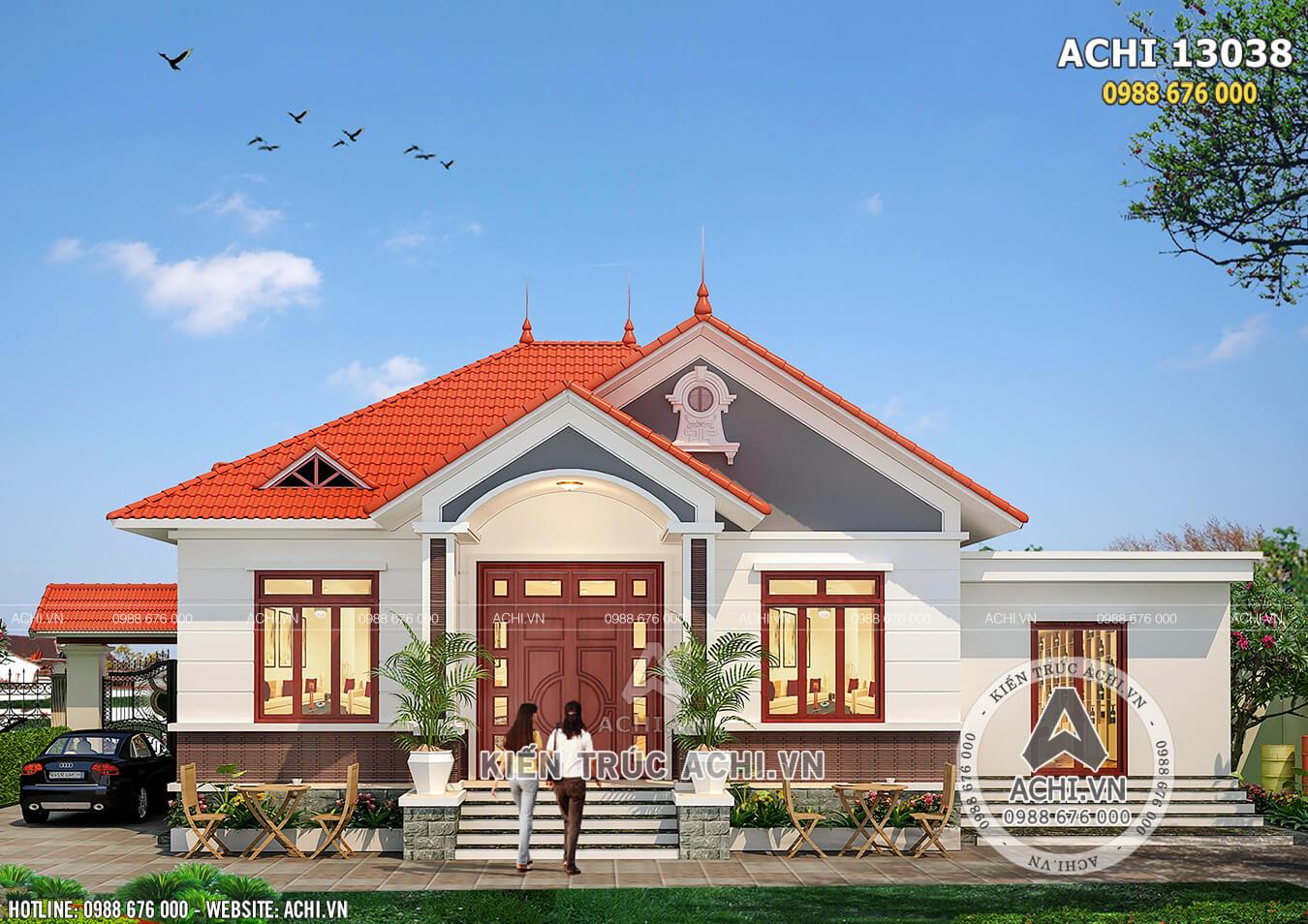 Mẫu nhà 1 tầng mái Thái 150m2 3 phòng ngủ đẹp - Mã số: ACHI 13038