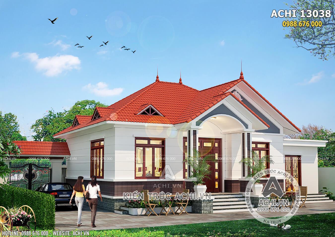 Phối cảnh 3D mẫu nhà 1 tầng mái ngói đỏ 3 phòng ngủ