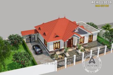Mẫu nhà 1 tầng mái Thái 150m2 3 phòng ngủ đẹp – Mã số: ACHI 13038