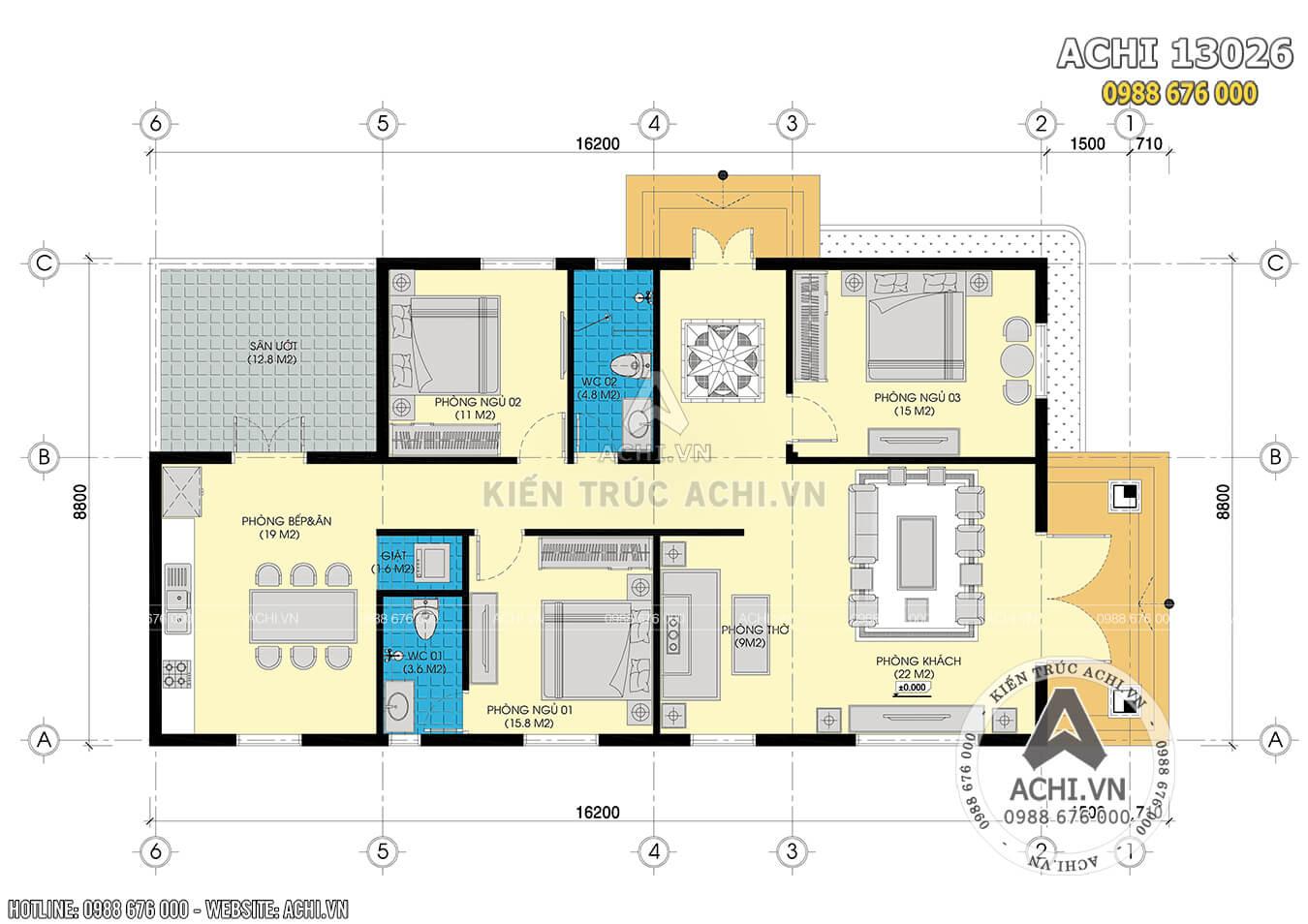 Mặt bằng công năng của mẫu nhà 1 tầng 3 phòng ngủ
