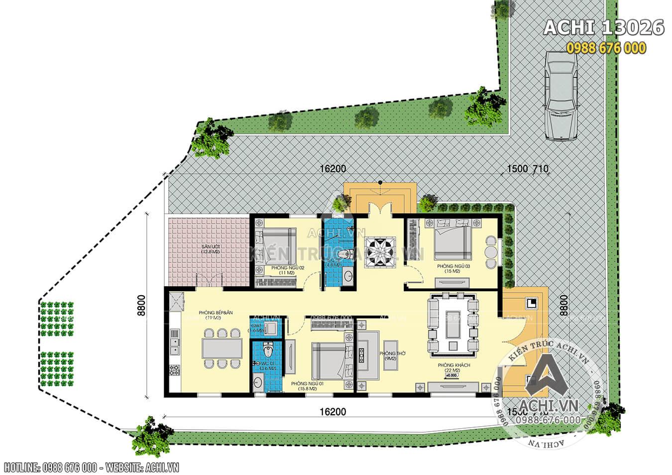 Mặt bằng tổng thể mẫu nhà cấp 4 mái thái đẹp 3 phòng ngủ