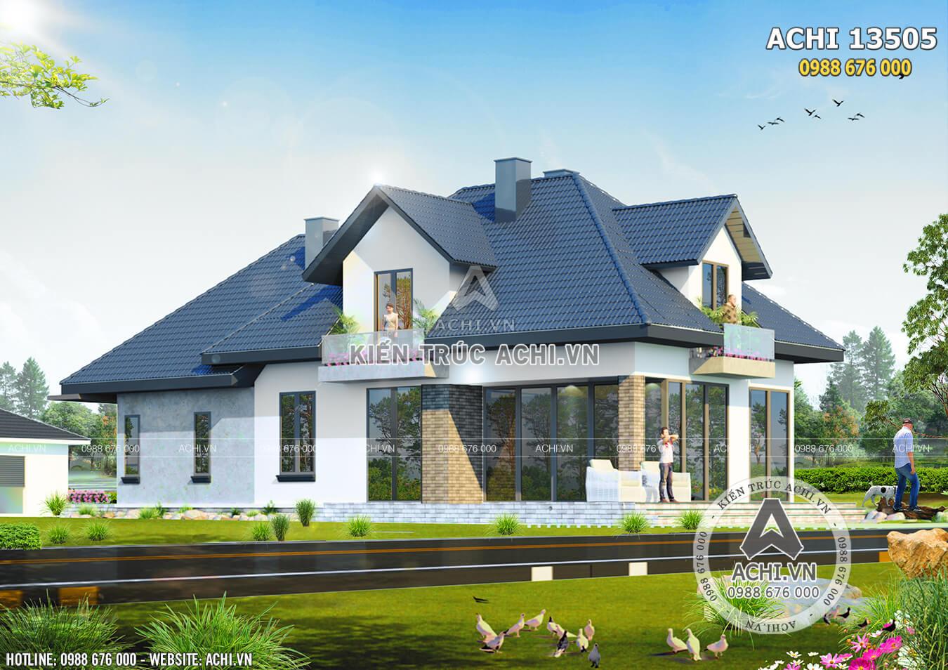 Mẫu nhà mái thái có gác lừng 1,5 tầng đẹp tại Lạng Sơn - ACHI 13505