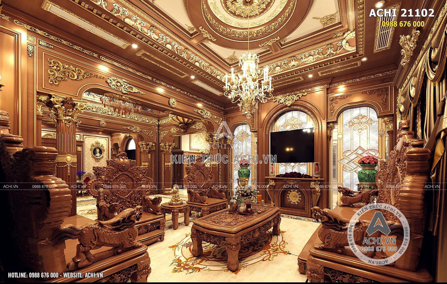 Nội thất phòng khách đầy đẳng cấp của tòa lâu đài tân cổ điển