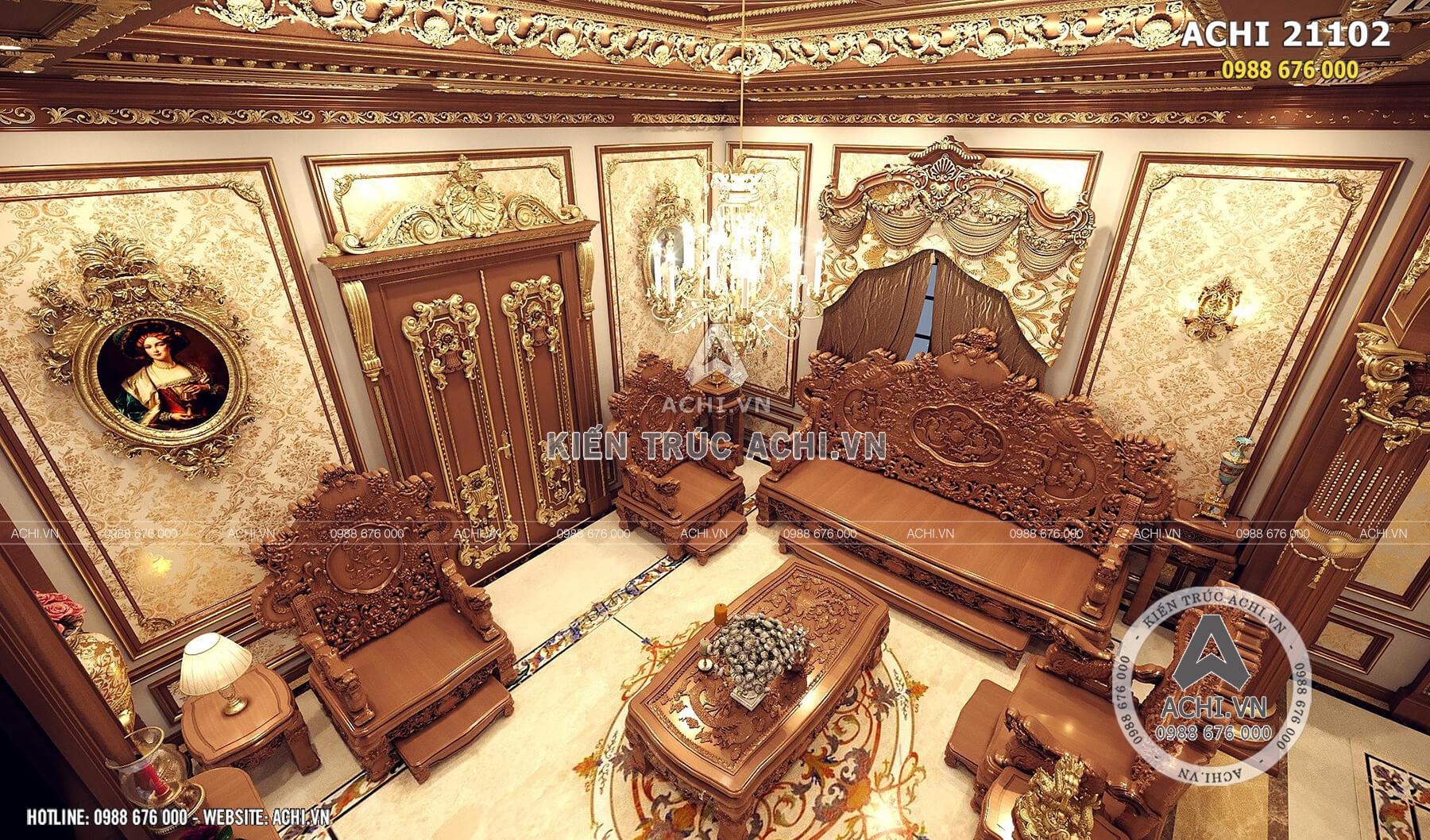 Thiết kế nội thất tân cổ điển đẹp của mẫu thiết kế lâu đài 2 tầng