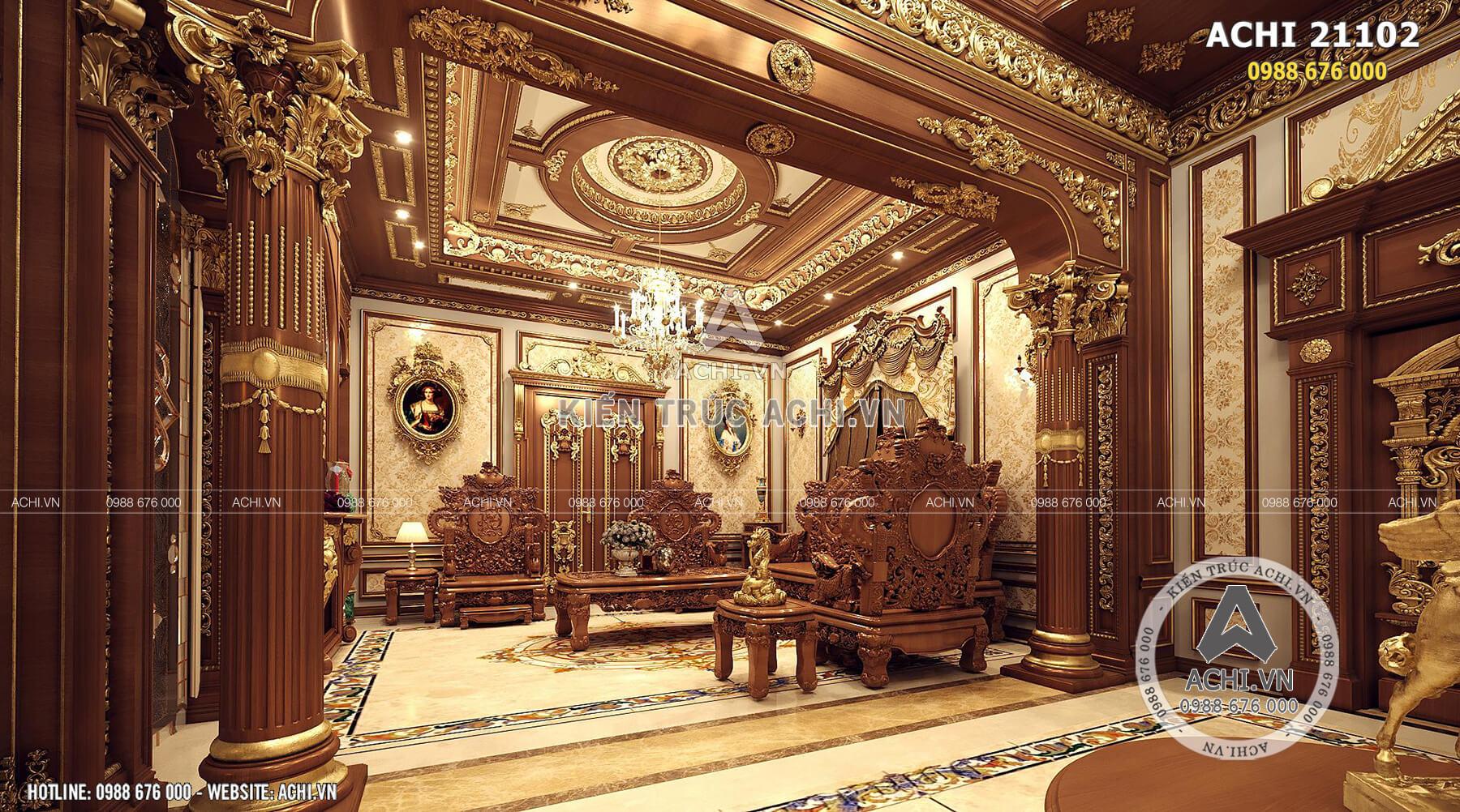 Nội thất phòng khách tân cổ điển của tòa lâu đài 2 tầng đẹp
