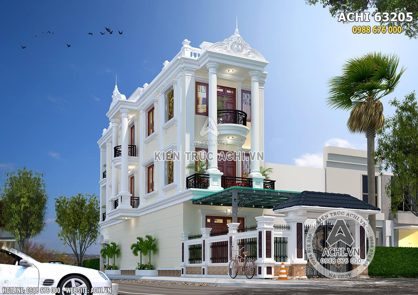 Mẫu thiết kế nhà phố tân cổ điển 3 tầng đẹp tại Thái Bình - ACHI 63205