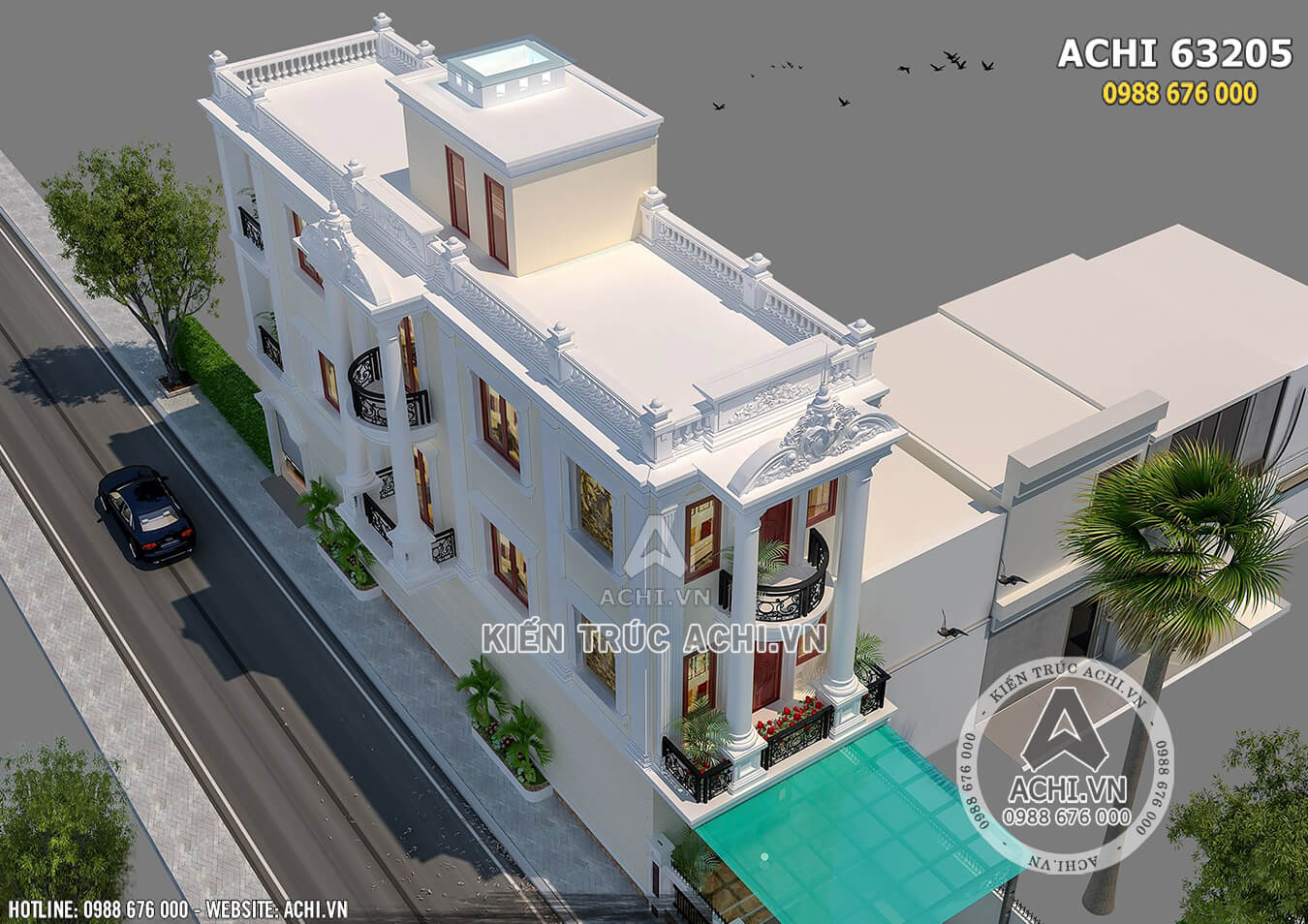 Ngôi nhà phố tân cổ điển 3 tầng nhìn từ trên cao