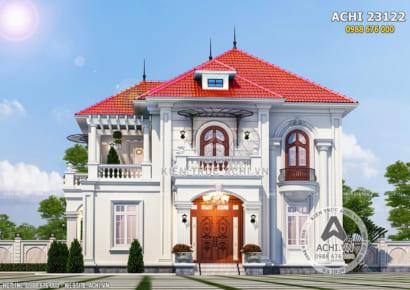 Không gian ngoại thất mặt tiền mẫu biệt thự 2 tầng đẹp tân cổ điển tại Bình Phước - Mã số: ACHI 23122
