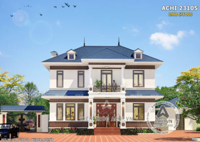 Phối cảnh 3D mặt tiền mẫu biệt thự 2 tầng mái Thái đẹp - Mã số: ACHI 23105