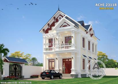 Mẫu nhà 2 tầng mái thái mặt tiền 8m tân cổ điển - ACHI 23118