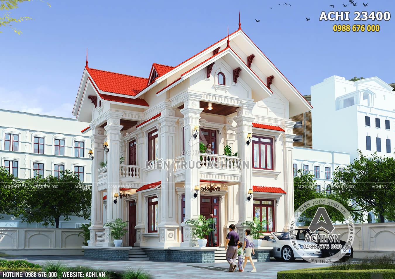 Tổng thể ngôi biệt thự 2 tầng tân cổ điển sang trọng
