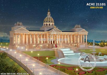 Không gian ngoại thất mẫu thiết kế lâu đài dinh thự đẹp - Mã số: ACHI 21101