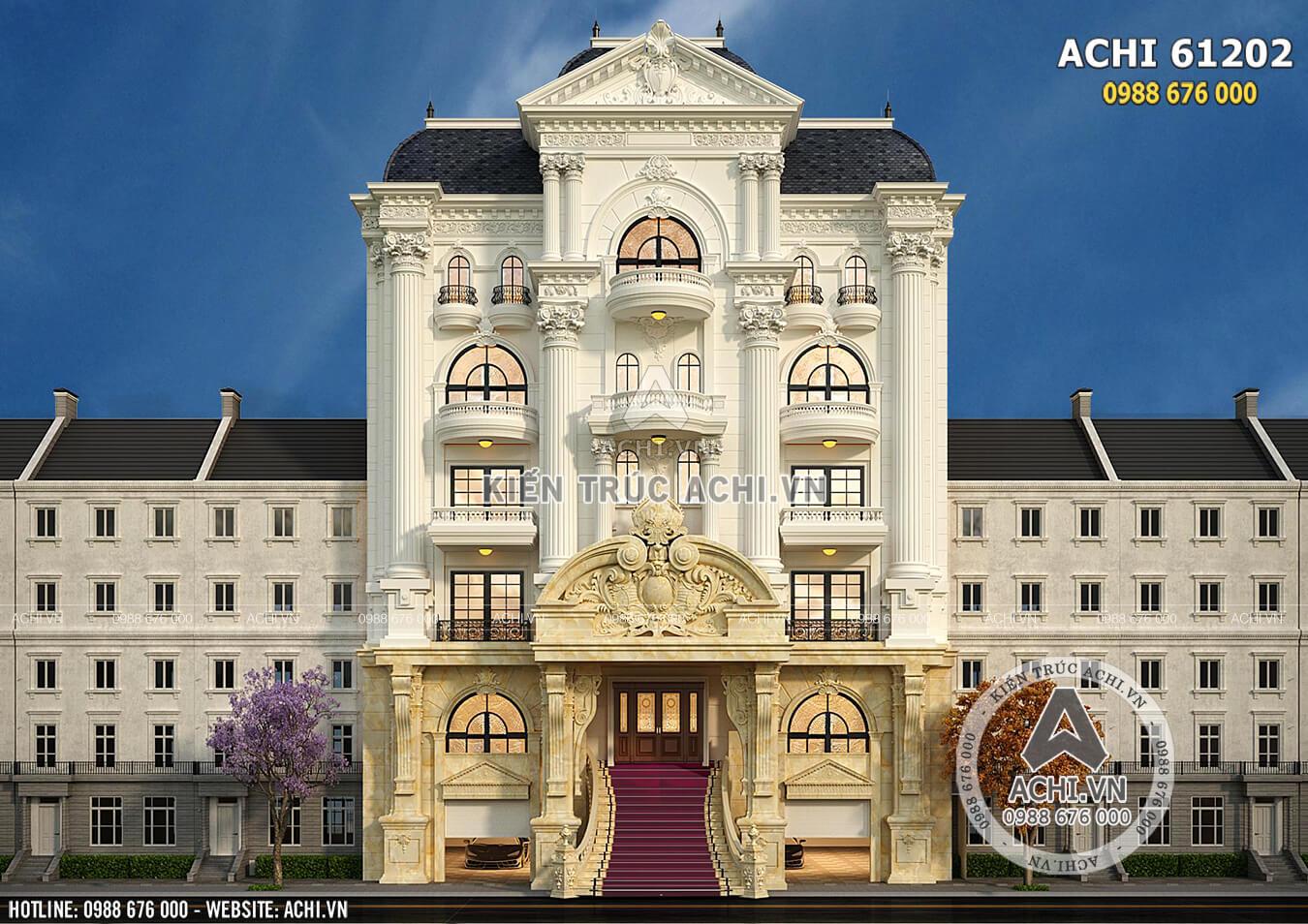 Không gian mặt tiền mẫu thiết kế nhà ở kết hợp kinh doanh mặt tiền 15m tân cổ điển - Mã số: ACHI 61202