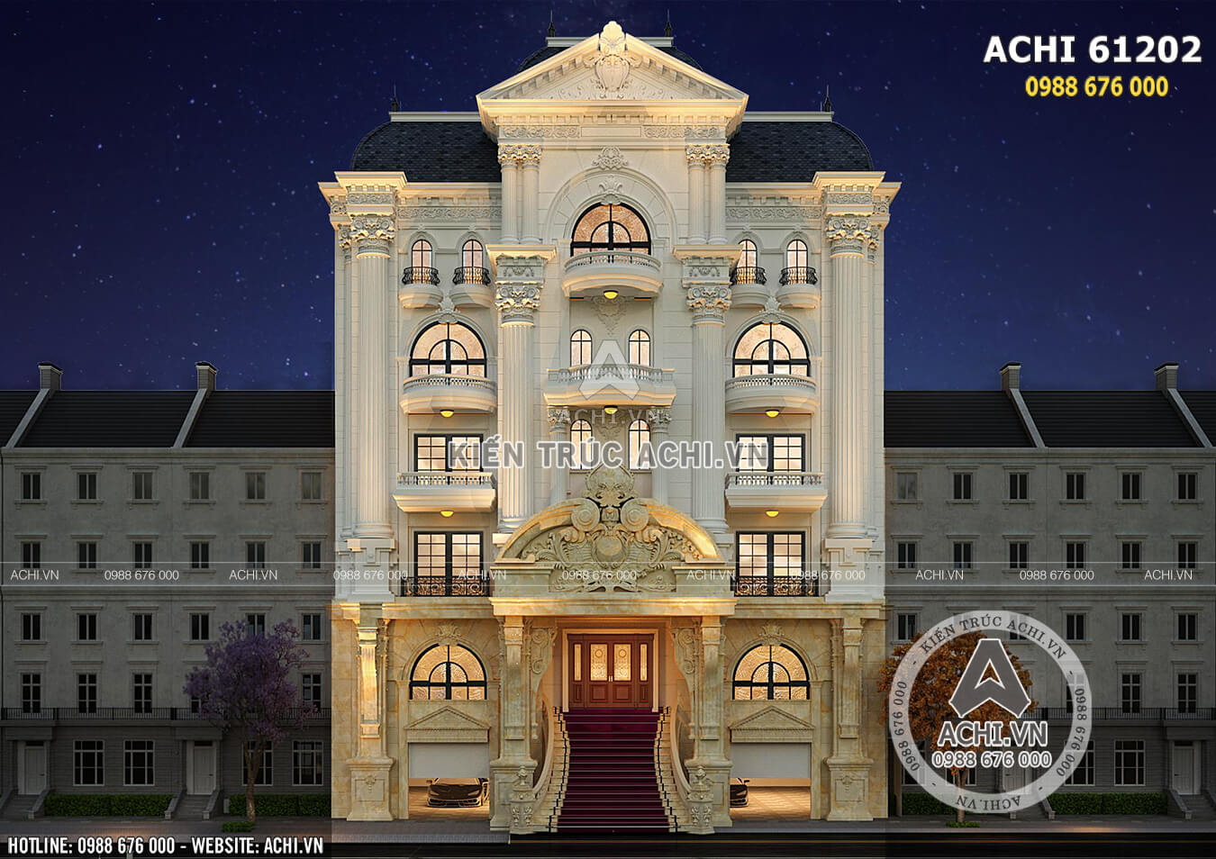 Mặt tiền nổi bật với kiến trúc tân cổ điển sang trọng, đẳng cấp thu hút mọi ánh nhìn người qua đường