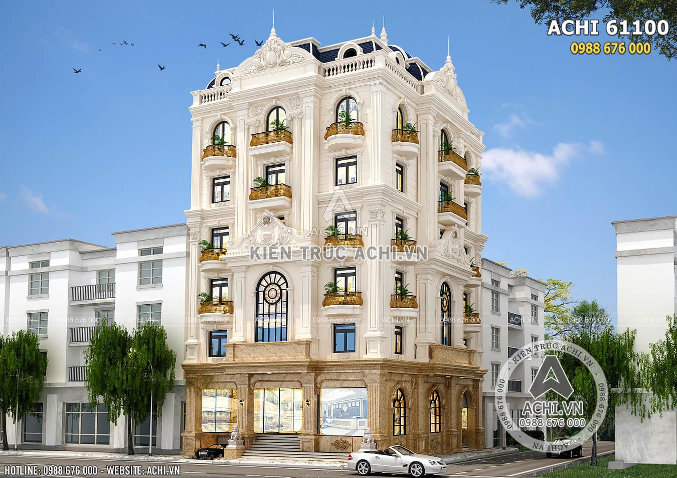 Phối cảnh 3D toàn cảnh mẫu thiết kế biệt thự tân cổ điển nhà ở kết hợp khách sạn đẹp