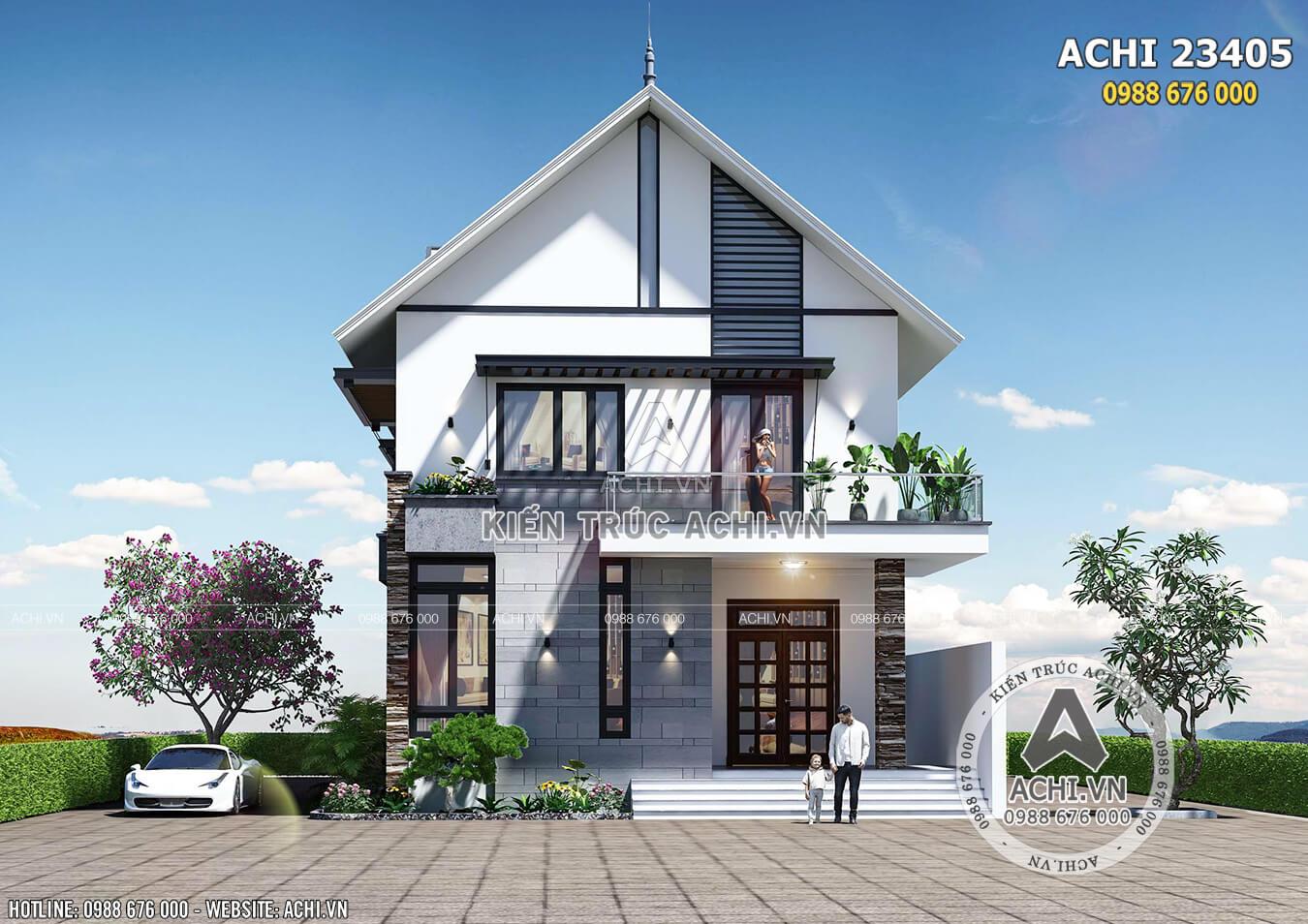 Phối cảnh 3D ngoại thất biệt thự 2 tầng mặt tiền 8m - Mã số: ACHI 23405