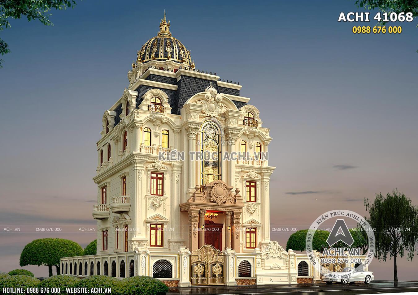 Biệt thự lâu đài tân cổ điển 4 tầng đẹp tại Quảng Ninh - ACHI 41068