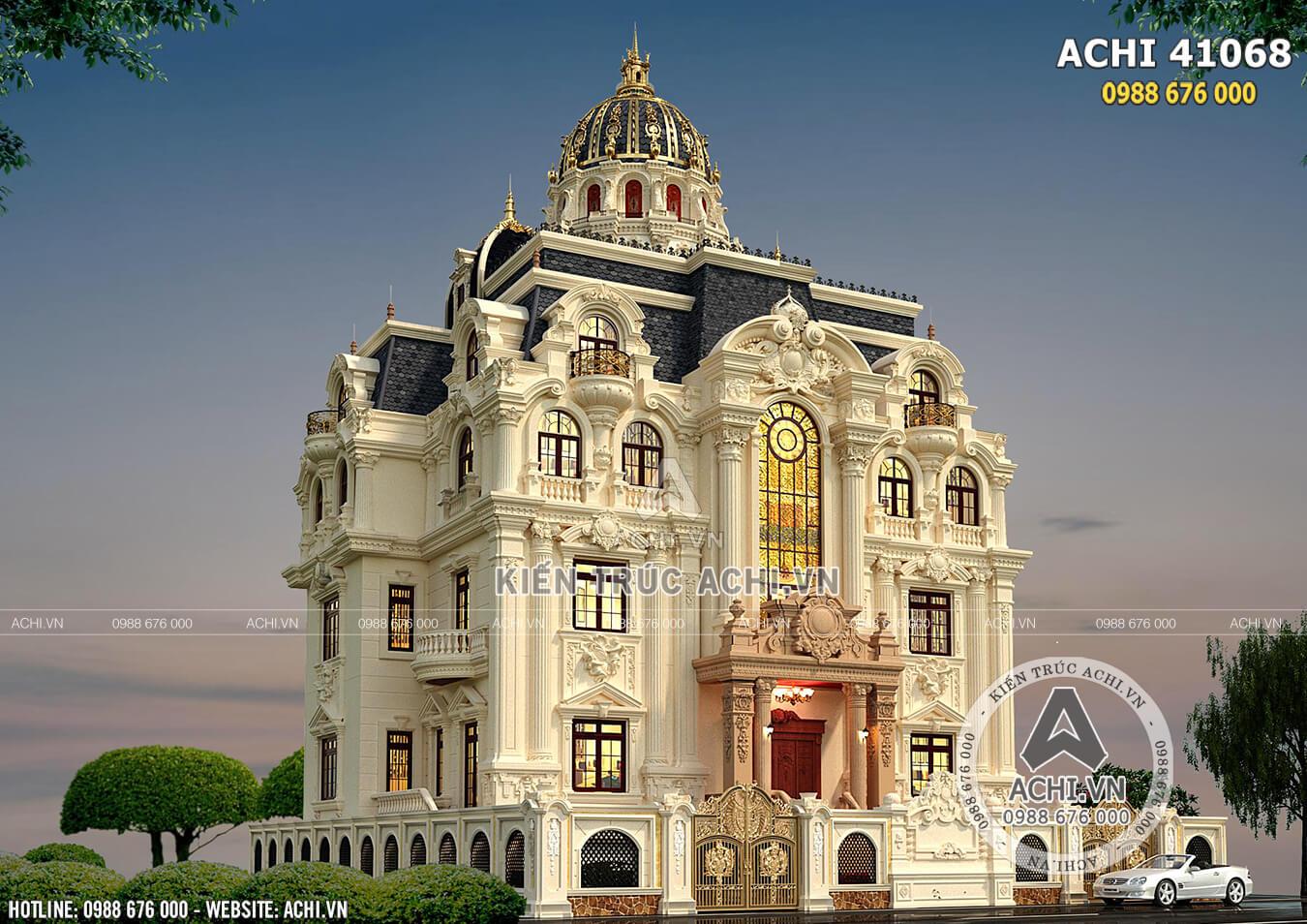 Ngôi biệt thự lâu đài 4 tầng 1 tum sang trọng với kiến trúc tân cổ