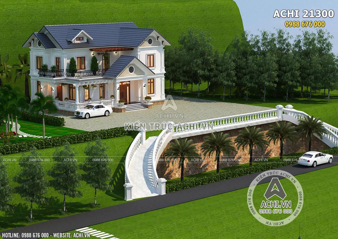 Mẫu thiết kế biệt thự 2 tầng mái Thái đẹp 150m2 - Mã số: ACHI 21300
