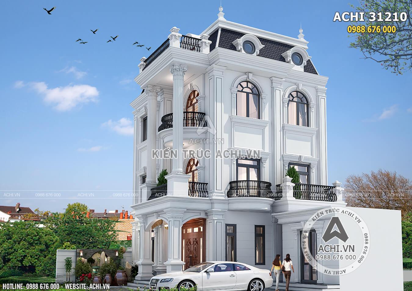 Mẫu thiết kế biệt thự 3 tầng tân cổ điển đẹp - ACHI 31210